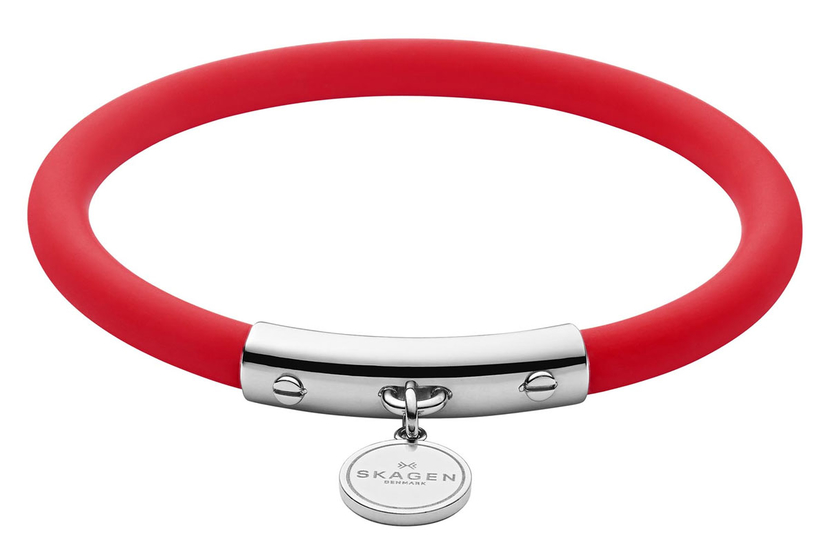 SKAGEN Blakely Red Silicone and Silver-Tone Bracelet SKJ1280040